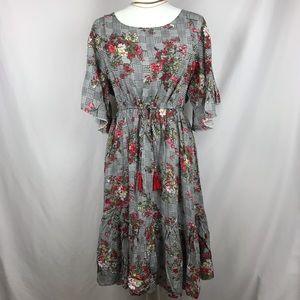 Catch Stitch Gingham Floral Dress